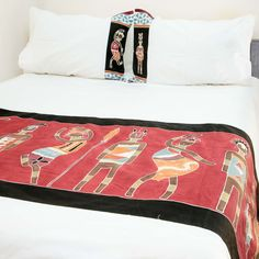 Duvet Covers ~ Ladies and Warriors Designs Double $240.00 USD Duvet cover and pillowcases in 100% cotton material, inlaid with beautiful hand-painted fabric strip depicting athletic warriors and graceful ladies in striking terracotta, red and blue colourway. #LadiesandWarriors #TribalTextiles