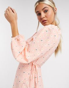 Glamorous Curve maxi wrap dress with oversized sleeves and ditsy floral pattern in pink | ASOS Asos, Plus Size Stores, Maxi Wrap Dress, Maxi Dresses, Party Dresses, Glamour, Going Out Dresses, Ditsy Floral, Latest Dress