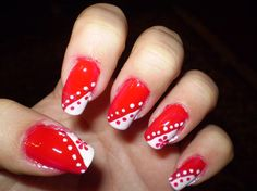 Coral and white polka dot with flower