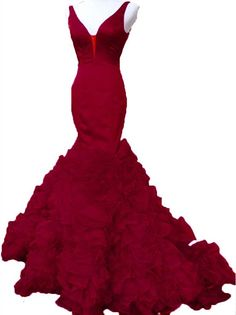 Lwdress Burgundy Prom Dresses Long Mermaid Evening Gowns 2016 Mermaid Evening Gown, Mermaid Prom Dresses, Women's Evening Dresses, Formal Dresses, Ruffles, Vintage Dresses, Burgundy, Color, Fashion