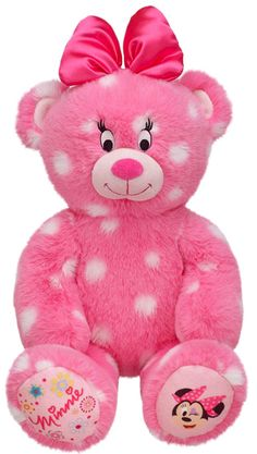Make-Your-Own Minnie Mouse Inspired Bear from Build-A-Bear Workshop! Shes having her party at build a bear Teddy Bear Images, Teddy Bear Cartoon, Teddy Bear Pictures, Cute Teddy Bears, Bear Pics, Pet Toys, Baby Toys, Build A Bear Accessories, Minnie Mouse Toys