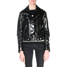 Saint Laurent Asymmetrical-Front PVC Bomber Jacket ($916) ❤ liked on Polyvore featuring men's fashion, men's clothing, men's outerwear, men's jackets and black