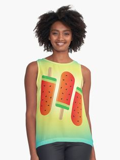 Watermelon Ice Lollies Contrast Tank Front