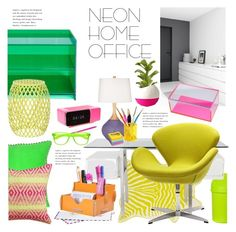 """""""Neon Home Office"""" by janephoto ❤ liked on Polyvore featuring interior, interiors, interior design, home, home decor, interior decorating, Magenta, Glas Italia, Maslin & Co. and Crate and Barrel"""