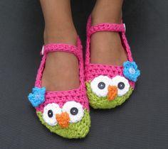 Owl Slippers: Kid Size 13-2  (Crochet Cotton). $16.00, via Etsy.