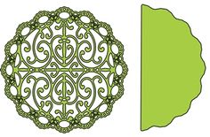 """Turkish Lace Doily with Angel Wing - $24.95  Turkish Lace and Angel Wing from Cheery Lynn Designs. The Turkish Lace has an ornate design with several accents.  Doily 4 1/4"""" x 4 1/4""""  Angel wing 4 3/8"""" x 2 3/16"""""""