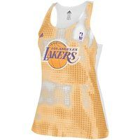 adidas Los Angeles Lakers Ladies Sublimated Sequin Tank Top - Gold