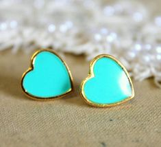 Blue sea foam blue Heart gold stud earring -petit elegant gold coated post earrings from Petite Delights By Ilona Rubin. Saved to Jewelry . Azul Tiffany, Tiffany Blue, Heart Earrings, Stud Earrings, Kelsey Rose, E 38, Bleu Turquoise, Mint, Gold Studs