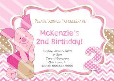 partyexpressinvitations - Piglet Birthday Chevron Invitations, $8.99 (http://www.partyexpressinvitations.com/piglet-birthday-chevron-invitations/)