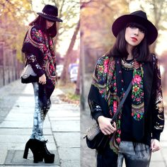 à La Russe Boho Scarf, Lancaster Studded Bag, Berenice Embellished Jeans, Missguided Boots, Chicwish Sequinned Sweater, Berenice Spiked Hat, Zara Boho Necklace