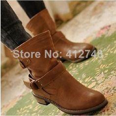 Sin gastos de envío! Las mujeres botas de mujer de primavera y otoño 2012 moda mujer botas de martin vintage plana hebilla botas de moto