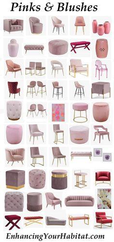 Makeup Table Pink Furniture New Ideas Pink Velvet Chair, Velvet Stool, Velvet Footstool, Velvet Lounge, Living Room Sofa Design, Home Room Design, Living Room Decor, Pink Loveseat, Pink Sofa