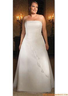 Robe de mariée grande taille mousseline bustier décoré