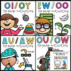 *Dipthong BUNDLE + BONUS R-Controlled vowel: er/ir/ur product* Help your students master the diphthongs au/aw, oi/oy, ou/ow, ew/oo with these fun no prep printables! First Grade Phonics, Teaching Second Grade, First Grade Activities, Word Work Activities, Phonics Rules, Phonics Words, Teaching Phonics, Teaching Reading, Kindergarten Prep
