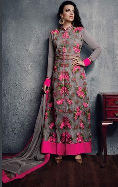 Grey Colour Net Designer Party Wear Suit Buy Sarees