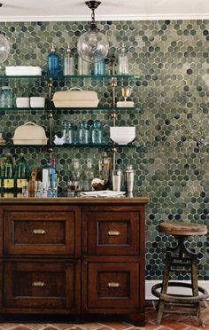 Nice contrast between the cool color of the wall tiles and the warmth of the terra cotta tiles. Green tile with terra cotta Hexagonal Tile Wall Kitchen Kitchen Wall Tiles, Kitchen Backsplash, Kitchen Decor, Kitchen Dining, Countertop, Slate Backsplash, Hexagon Backsplash, Tidy Kitchen, Floors Kitchen