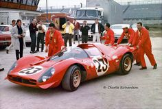 The winning works Ferrari 330P3/4 Spyder (chassis #0846) in the paddock prior to the start of the 1967 Daytona 24