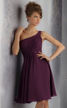 Popular Bridesmaid Dresses, Chiffon Dresses, A-line Knee-length Charming Chiffon Dress