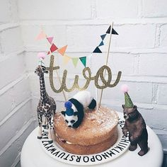 "molly-meg on Instagram: ""TWO! The best cake by @thetinyacorn including our cake toppers handmade by @claraivy"""