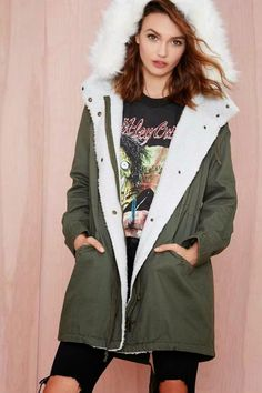 Warm it up in this army green anorak with a sherpa trim, faux fur hood, drawstring closures at waist and hem, and pockets at waist. New Outfits, Winter Outfits, Cute Outfits, Fashion Outfits, Casual Outfits, Anorak Jacket, Parka, Winter Wardrobe, Clothes For Sale