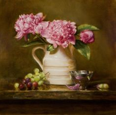 peonies in a still life by Lois Eakin
