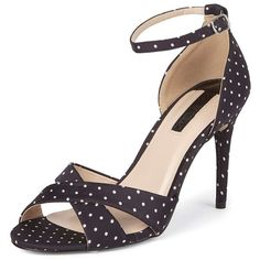 Dorothy Perkins Black Polka Dot 'Swoosh' Sandals ($55) ❤ liked on Polyvore featuring shoes, sandals, black, dot shoes, spot shoes, dorothy perkins, black high heel shoes and polka dot sandals