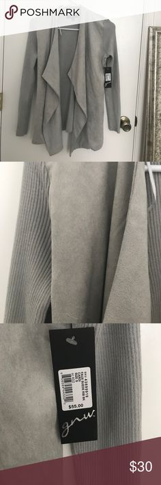 SUEDE RIBBED JACKET Beautiful grey faux suede jacket, ribbed sleeves and back, Size S Jackets & Coats