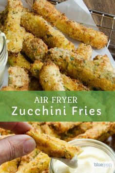 Air Fryer Zucchini Fries are a lighter and lower carb option than regular French fries. Make this recipe in the air fryer and you only need a small amount of oil for crispy zucchini fries. Recipe include a quick and easy roasted garlic aioli for dipping. Air Frier Recipes, Air Fryer Oven Recipes, Air Fryer Dinner Recipes, Air Fryer Recipes Potatoes, Air Fryer Recipes Mozzarella Sticks, Air Fryer Recipes Ground Beef, Air Fryer Chicken Recipes, Air Fryer Recipes Hamburger, Air Fryer Recipes Vegetables