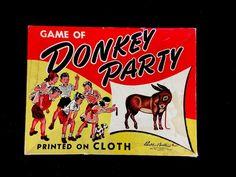 Vintage Retro Nostalgic Birthday Party Game Pin the Tail On The Donkey Party #MiltonBradley