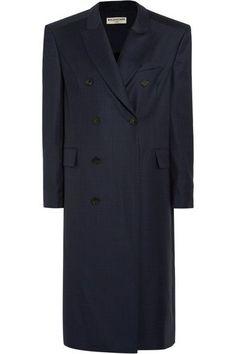 Balenciaga - Oversized Checked Wool Coat - Navy - FR40