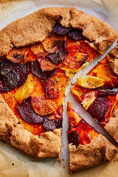 This rustically elegant root vegetable tart is welcome addition to any fall or winter spread. Serve it as an eye-catching appetizer, or enjoy a slice as a light vegetarian main alongside a simple green salad. Vegetable Tart, Simple Green Salad, Date Night Recipes, Thing 1, Dinner Dishes, Main Dishes, Side Dishes, Root Vegetables, Veggies