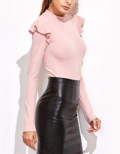 Streetwear Pink Mock Neck Long Sleeve Bodysuit