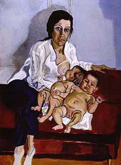 "Nancy and the Twins. Alice Neel was an American artist known for her oil on canvas portraits of friends, family, lovers, poets, artists and strangers. Her paintings are notable for their expressionistic use of line and color, psychological acumen, and emotional intensity. Neel was called ""one of the greatest American painters of the 20th century"
