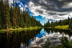 Lake water landscape reflection Sky clouds