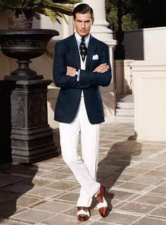 Navy Jacket, Winchester Shirt with Club Collar, Collar Pin & Spectators