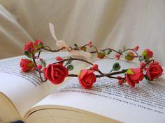 Coral Peach Woodland Crown Wedding Flower Head by TwoCatsAndAnOwl, $31.00