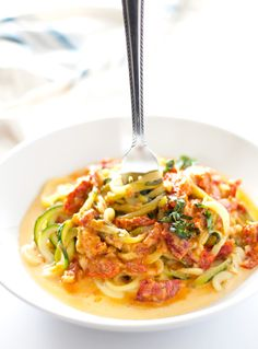 Zucchini Noodles with Sun Dried Tomato Cream Sauce | ahappyfooddance.com