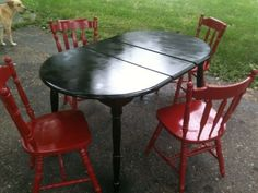 Painted the kitchen table and chairs! Table And Chairs, Dining Table, Painted Kitchen Tables, Outdoor Furniture, Outdoor Decor, Home Projects, Painted Furniture, Breakfast Nooks, House Ideas