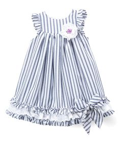 Take a look at this Blue & White Stripe Bow-Accent Angel-Sleeve Dress - Infant, Toddler & Girls today!