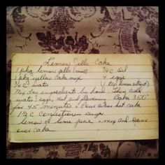 Lemon Jello Cake, recipe handwritten by my grandma, the best kind there is! Love this cake...sweet and lemony!