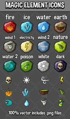Magic element icons for creating games Earth Wind, Game Icon, Nature Water, Game Assets, Game Ui, Fire And Ice, Cool Art, Magic, User Interface