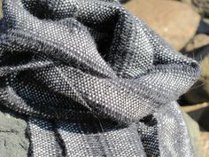 Alpaca Scarf Handwoven Coal Gray & White Lace by aclhandweaver, $185.00