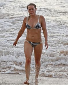 Beach babe: Hilary Duff looked fantastic in a stylish two-piece in Hawaii on Thursday