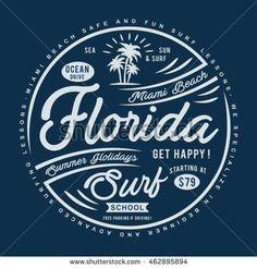 Florida surf typography, t-shirt graphics, vectors