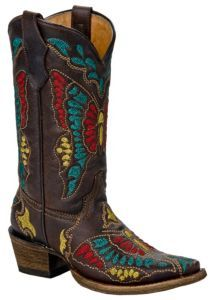 Corral Boot Company® Kids Dark Brown Multi-Color Butterfly Snip Toe Western Boots | Cavender's