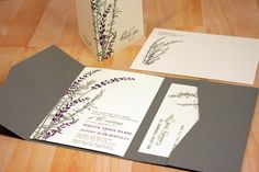SAMPLE Pocketfold Lavender and Rosemary Wedding by vohandmade, $3.00