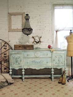 Painted Cottage Chic Shabby Aqua French Server by paintedcottages, $425.00