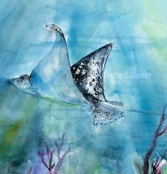 Ocean Life Stingray Original watercolor and Ink , Original Painting - Ginette Fine Art, The Art of Ginette Callaway  - 2