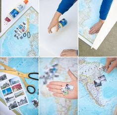 Travel Memory Map DIY | Oh Happy Day! print tiny photos with the year and town you traveled and adhere that to the map with a map pin instead of just the pin