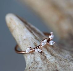 14K Rose Gold Engagement Ring with 1/3ctw Marquis Diamond in